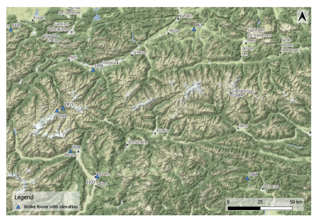 Water tower elevation in Alps mountain range (background map by Stamen Terrain)