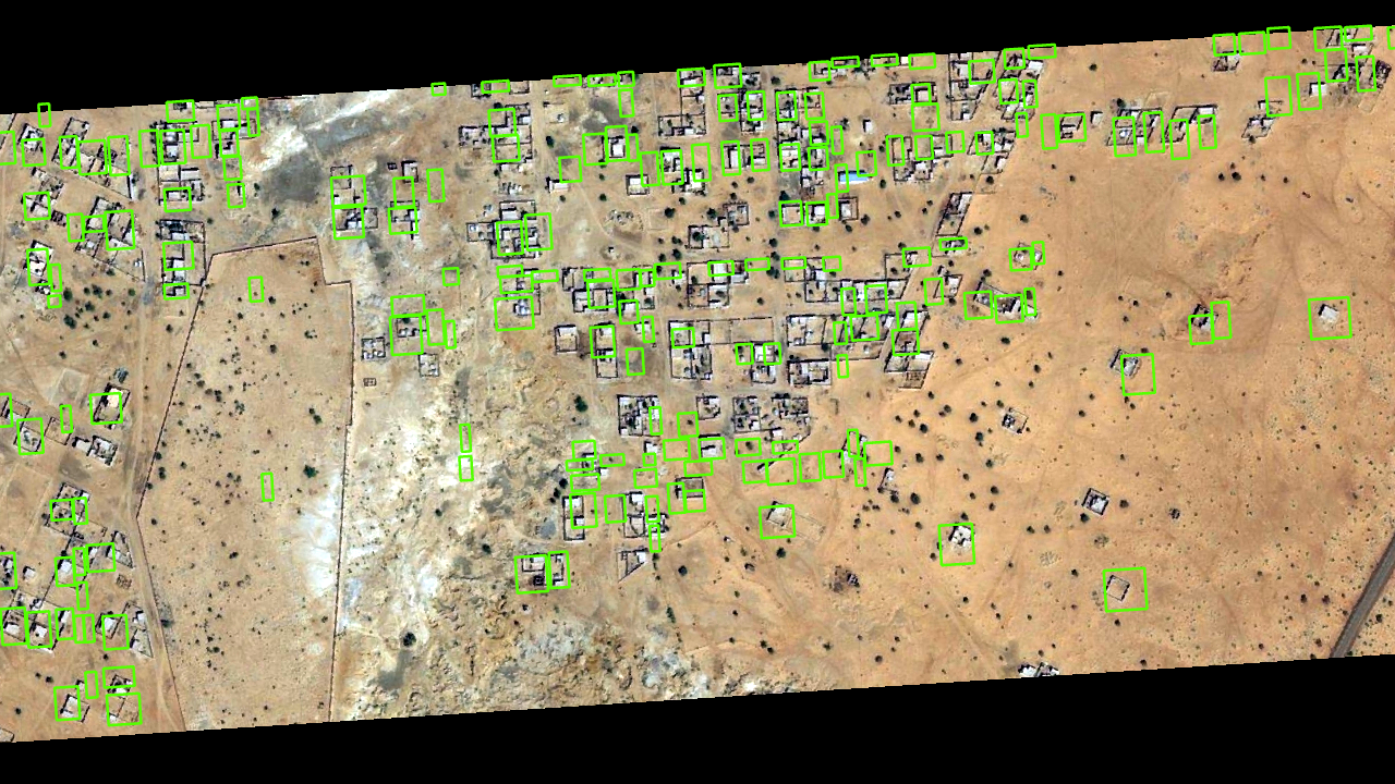 detected buildings by arcgis pro